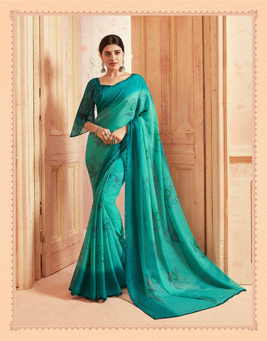 Teal Green Color Chiffon Georgette Women's Saree - 84171