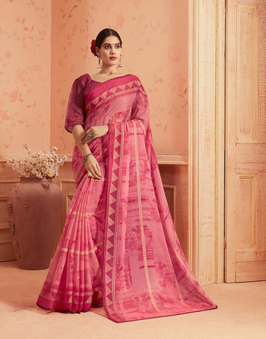 Pink Color Chiffon Georgette Women's Saree - 84172