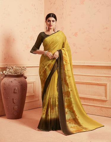 Yellow Color Chiffon Georgette Women's Saree - 84173