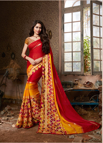 Red Color Chiffon Georgette Women's Saree - 84174
