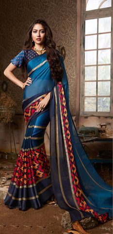 Blue Color Chiffon Georgette Women's Saree - 84177