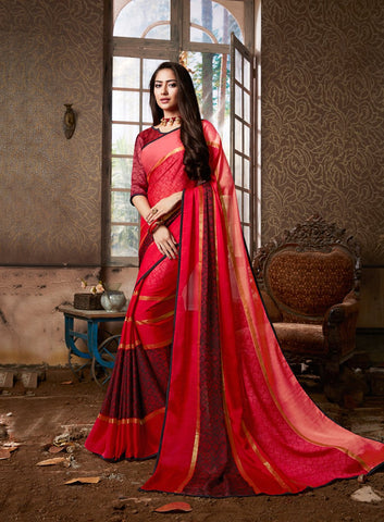Red Color Chiffon Georgette Women's Saree - 84178