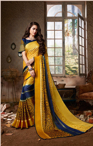 Yellow Color Chiffon Georgette Women's Saree - 84179
