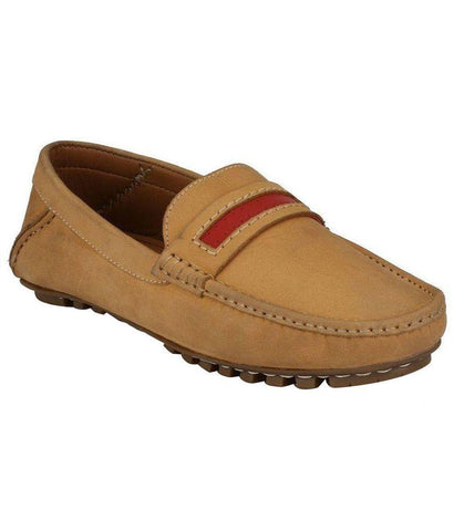 Camel Color Leather Men's Loafers - 8439_Camel