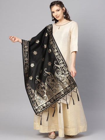 Black Color Banarasi Silk Women's Dupatta - 84660