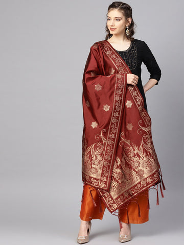 Maroon Color Banarasi Silk Women's Dupatta - 84662