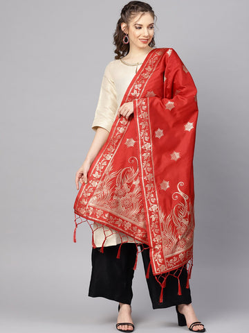 Red Color Banarasi Silk Women's Dupatta - 84665