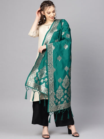 Rama Green Color Banarasi Silk Women's Dupatta - 84671