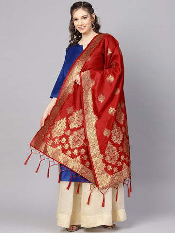 Red Color Banarasi Silk Women's Dupatta - 84672