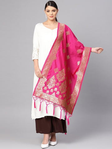 Rani Color Banarasi Silk Women's Dupatta - 84673