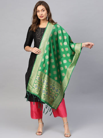 Green Color Banarasi Silk Women's Dupatta - 84675