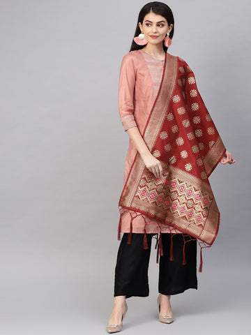 Maroon Color Banarasi Silk Women's Dupatta - 84676