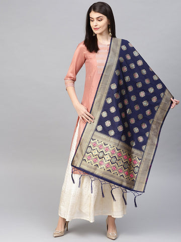 Navy Blue Color Banarasi Silk Women's Dupatta - 84677