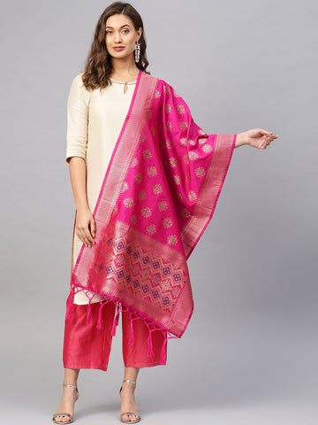 Rani Color Banarasi Silk Women's Dupatta - 84679
