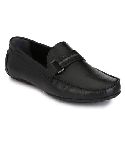 Black Color Leather Men's Loafers - 8533_Black