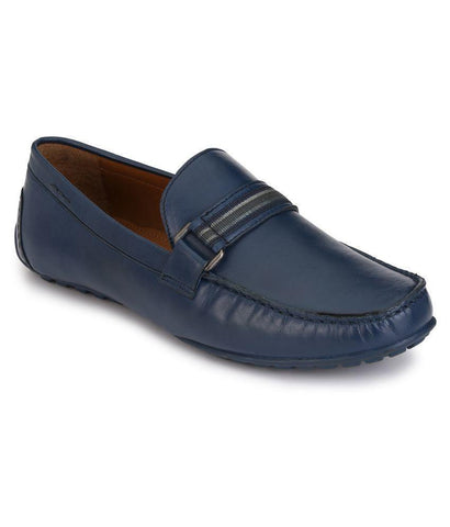 Blue Color Leather Men's Loafers - 8533_Blue