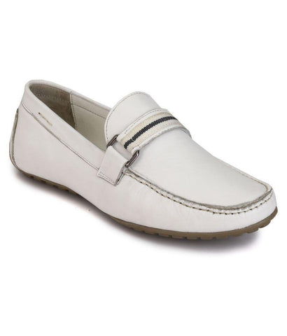 White Color Leather Men's Loafers - 8533_White