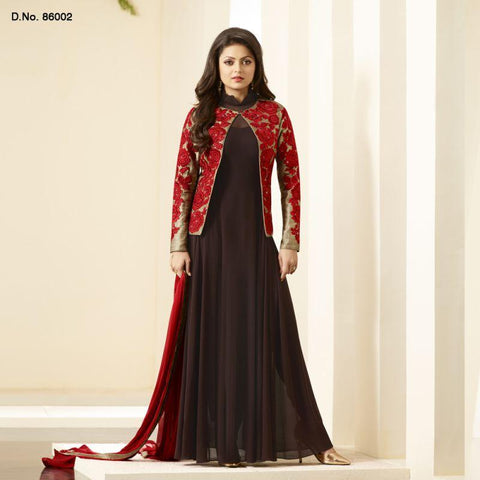 Wine Color Lycra and Net Un Stitched Salwars - 86002