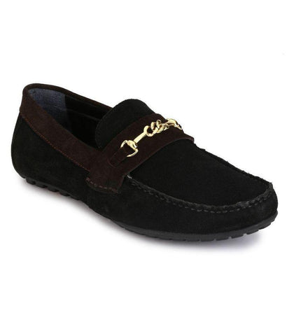 Black Color Suede Leather Men's Loafers - 8614_Black