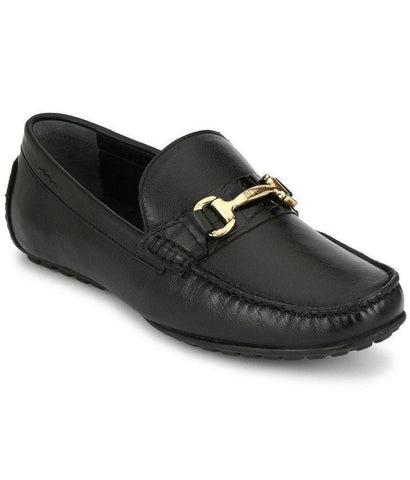 Black Color Leather Men's Loafers - 8624_Black