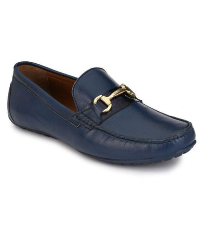 Blue Color Leather Men's Loafers - 8624_Blue