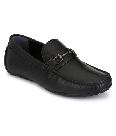 Black Color Leather Men's Loafers - 8632_Black