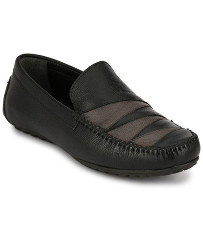 Black Color Leather Men's Loafers - 8636_Black