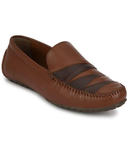 Tan Color Leather Men's Loafers - 8636_Tan