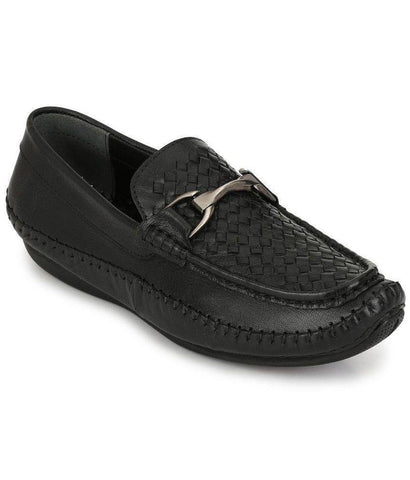 Black Color Leather Men's Loafers - 8679_Black