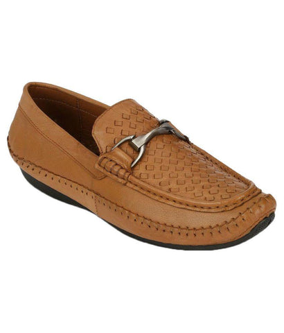 Tan Color Leather Men's Loafers - 8679_Tan