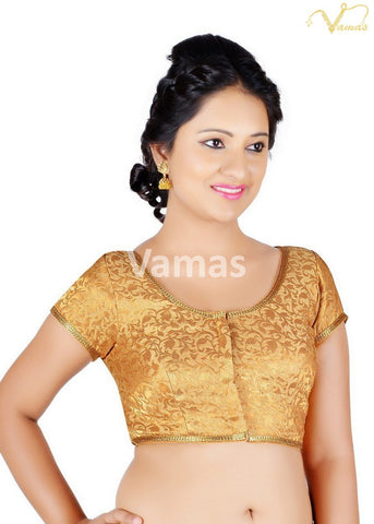Gold Color Brocade Stitched Blouse - 86b-gold