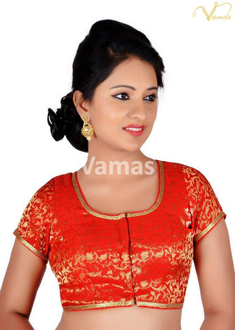 Red Color Brocade Stitched Blouse - 86b-red