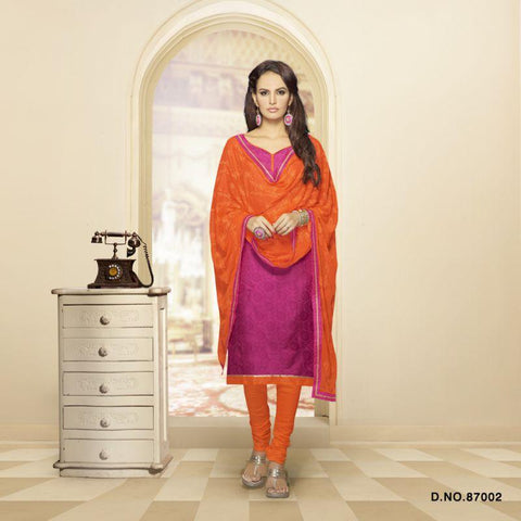 Fuchsia Color Cotton Blend Un Stitched Salwars - 87002