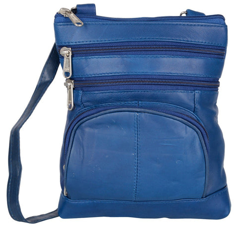 Blue Color Leather Women Cross Body Bag - 876Blue