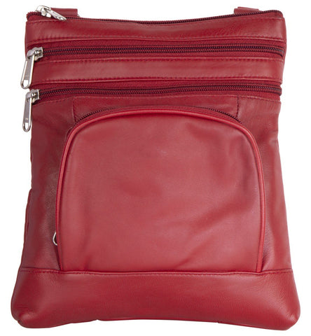 Red Color Leather Women Cross Body Bag - 876Red