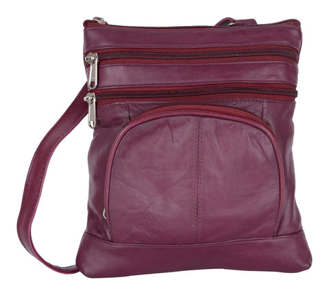 Purple Color Leather Women Cross Body Bag - 876purple