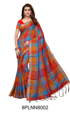Multi Color Pure Linen Saree - 8PLNN8002