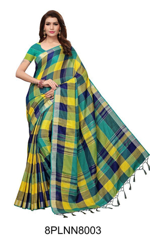Multi Color Pure Linen Saree - 8PLNN8003