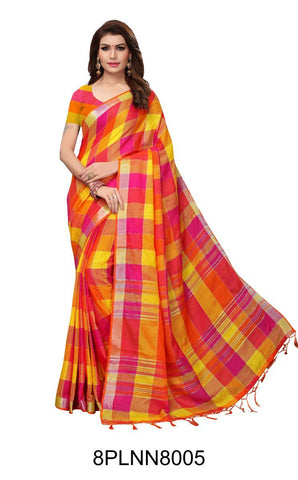 Multi Color Pure Linen Saree - 8PLNN8005