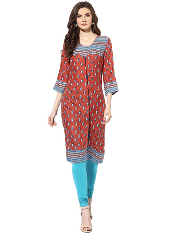 Multi Color Rayon Stitched Kurti - 9000477-MULTI