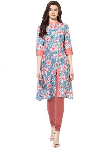 Multi Color Cotton Stitched Kurti - 9000480-MULTI