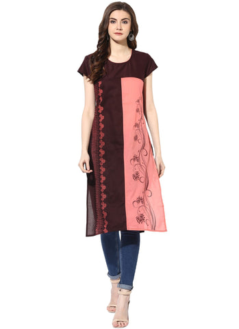 Maroon Color Cotton Stitched Kurti - 9000481-MAROON