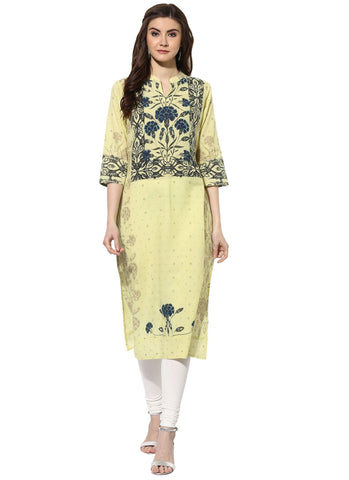 Yellow Color Cotton Stitched Kurti - 9000482-YELLOWBLUE