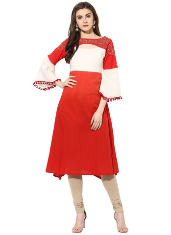 Red Color Cotton Stitched Kurti - 9000483-REDWHITE