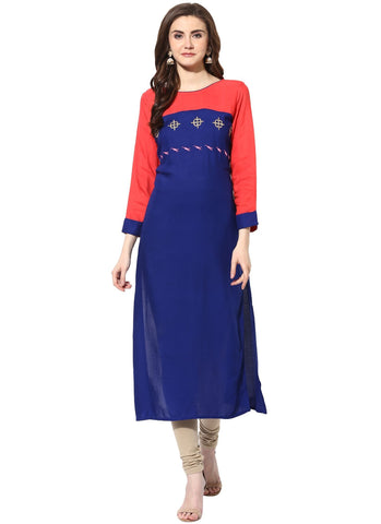 Blue Color Rayon Stitched Kurti - 9000484-BLUEPINK