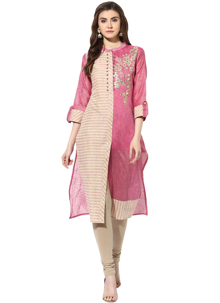 Pink Color Chanderi ReadyMade Kurti