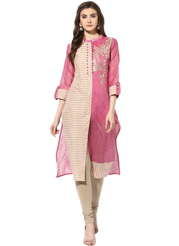 Pink Color Chanderi Stitched Kurti - 9000485-BEIGEPINK