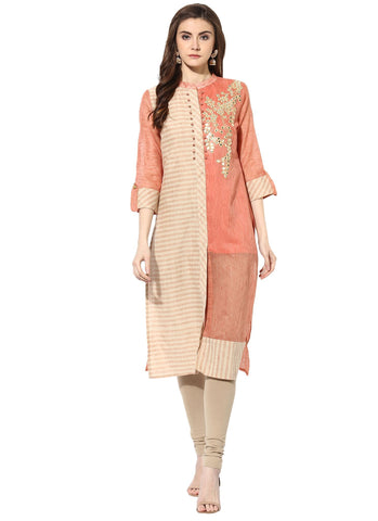 Beige Color Chanderi ReadyMade Stitched Kurti - 9000485-BEIGERUST