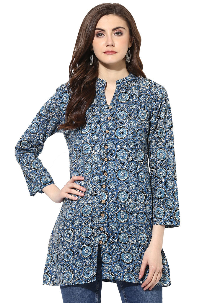 Blue Color Cotton ReadyMade Kurti