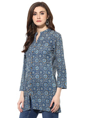 Blue Color Cotton Stitched Kurti - 9000486-BLUE